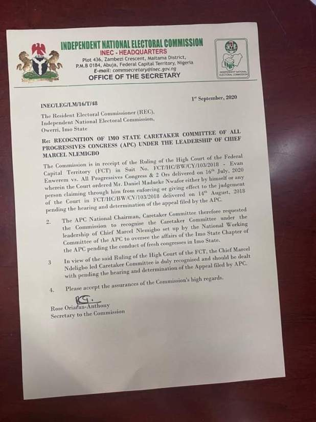 FB IMG 1599481270042 - INEC recognizes Marcelinus Nlemigbo as duly chairman of APC in Imo