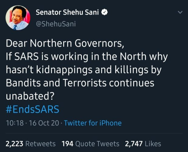 20201016 104939 - If SARS is working, why has terrorism continued - Shehu Sani blasts Northern Govs