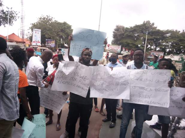 IMG 20201013 132349 scaled - End SARS: Protesters block Ebonyi govt house, demand removal of police officers found guilty of crime