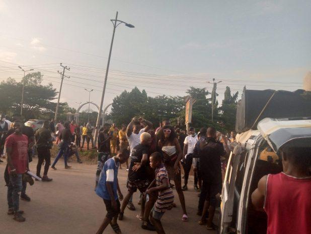 IMG 20201014 173151 827 scaled - End SARS: Motorists stranded as protesters block Enugu-Onitsha highway