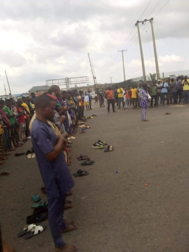 IMG 20201016 132418 3 768x1024 - End SARS: Protesters hold Juma't prayer on expressway as CSO's join agitations against Police brutality [Photos]