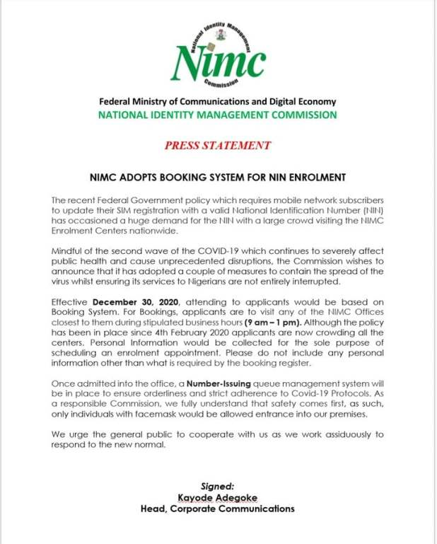 nin one - registration: NIMC gives new instructions to NIN applicants