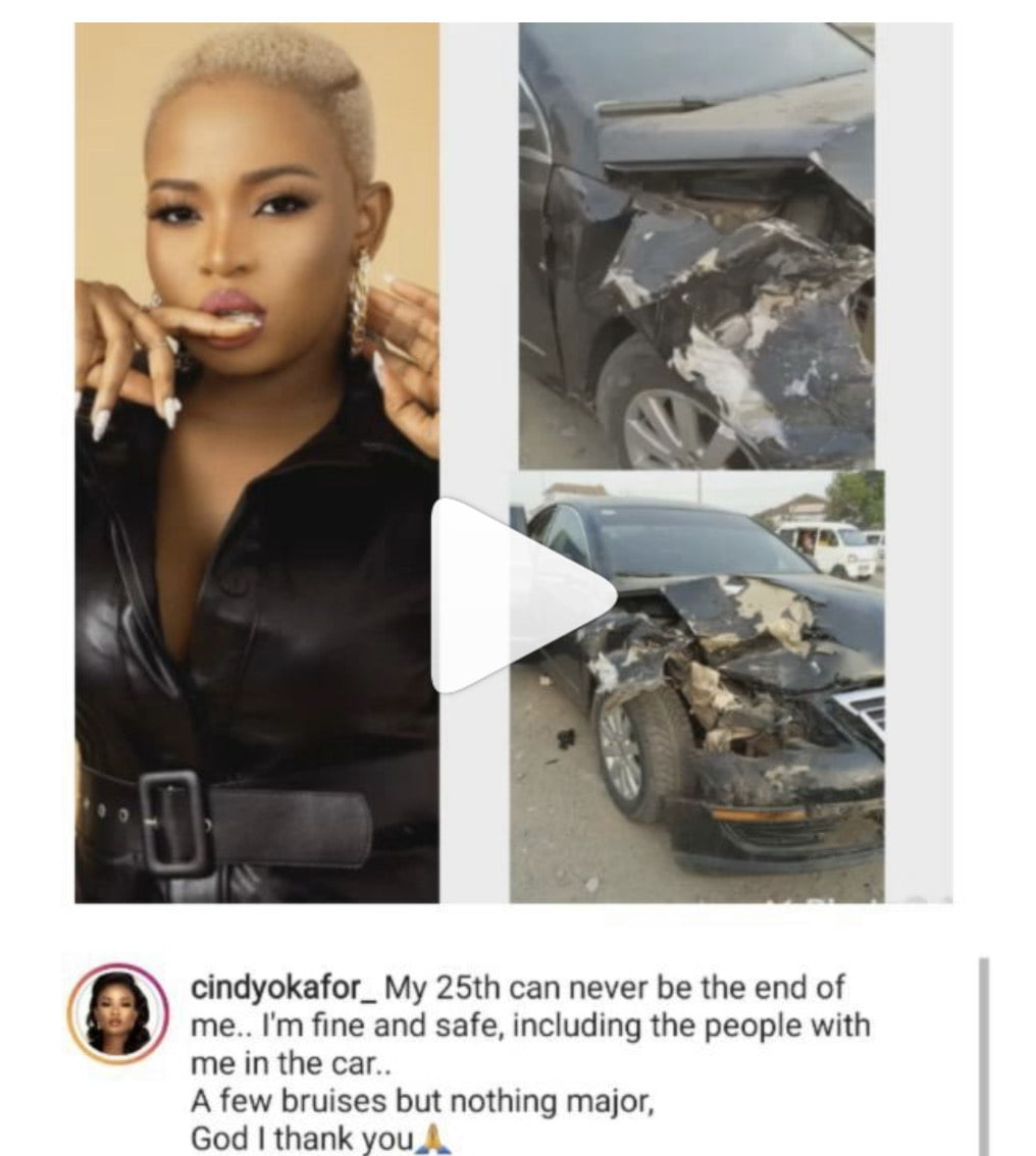TRENDING: BBNaija's Cindy Okafor involved in ghastly motor accident