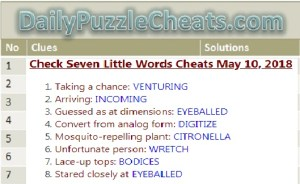 7 Little Words May 10 2018, 7 Little Words Daily Puzzle Answers May 2018 2018