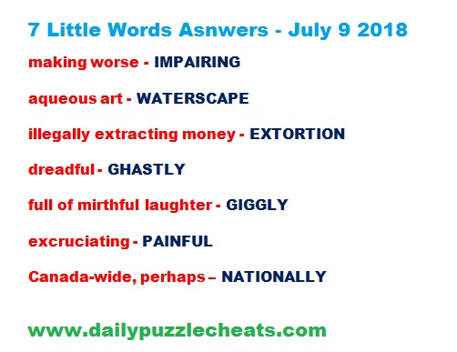 7 Little Words July 9 2018 answers