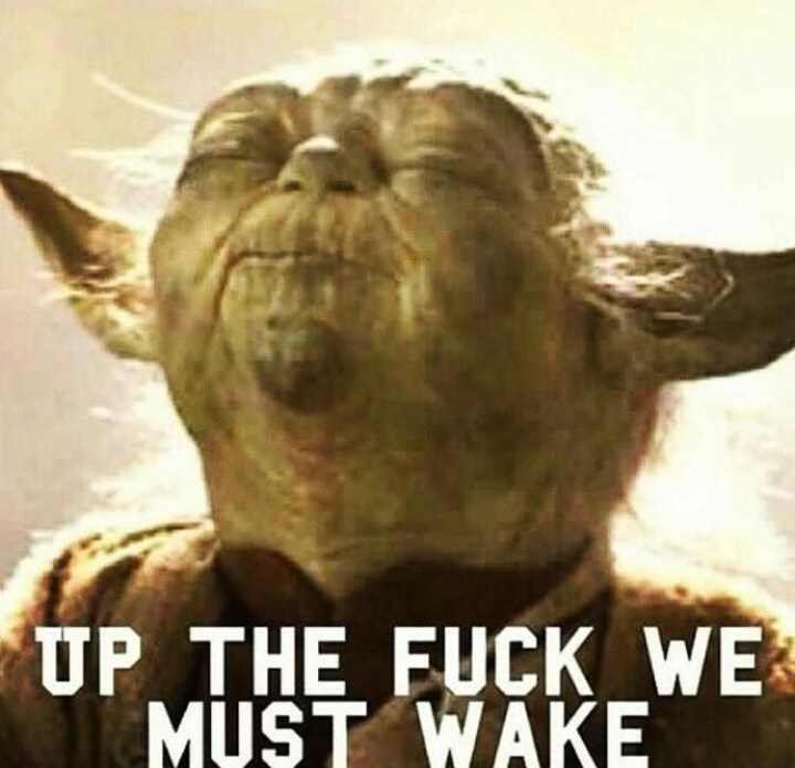 up the fuck we must wake - Yoda quote