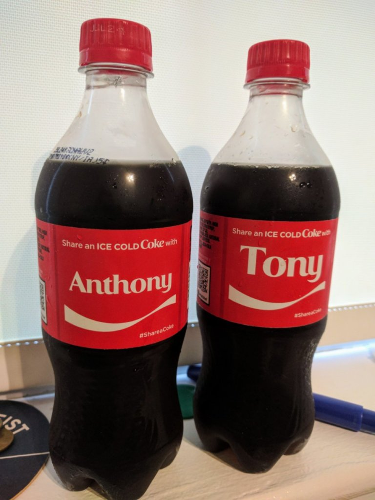 Anthony - Tony Coke Bottles