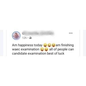 ''AM Happiness'' - Secondary School Student Writes as He Celebrates Completetion of His WAEC