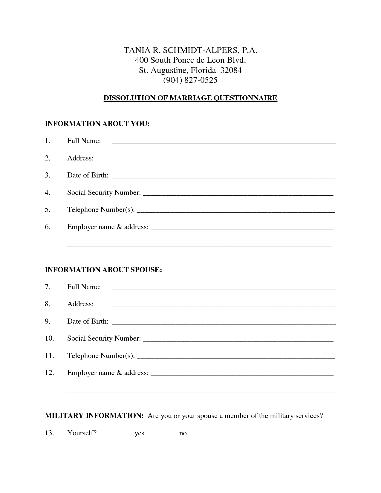 Fake Divorce Papers Template
