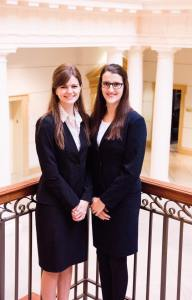 Lexie Cross and her partner Madeline Persons before advancing onto Moot Court National competition, Virginia Beach, V.A., Nov. 2017. (Megan Dunnington)