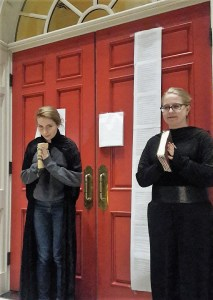 Students dressed as Martin Luther in front of the Chapel doors for Reformation Day, Virginia Beach, VA, Oct. 2017. (Sara Waits)