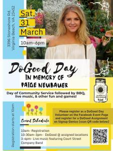 The flyer for DoGood Day that was used by the community to spread word about DoGood Day. March 2018. (Lynn Neubauer).