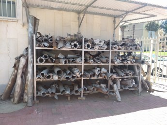 These are rockets that Hamas launched at Israel; they are pictured at a police station (where they've been collected) that's about a mile from Gaza.