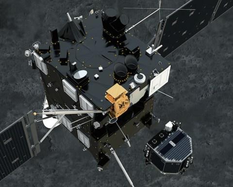La sonde spatiale européenne Rosetta largue l'atterrisseur Philae vers la comète 67P. © ESA