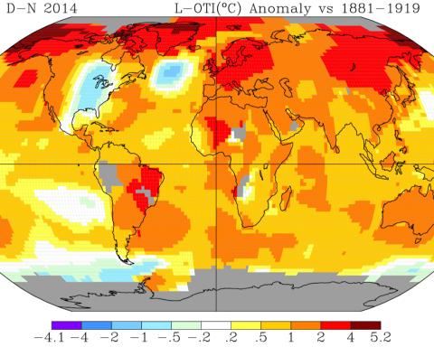 Anomalies de températures en 2014 par rapport à la période 1881-1919. © NOAA