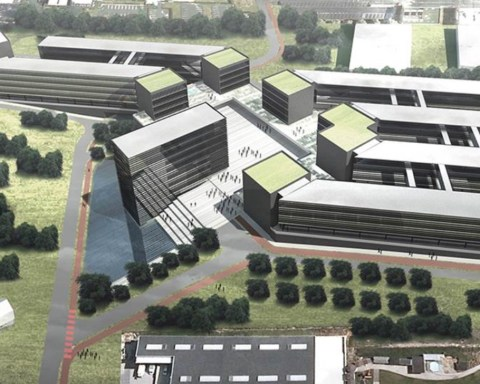 """Vue d'ensemble du projet immobilier lié à la construction du """"China-Belgium Technology Center"""", à Louvain-la-Neuve."""