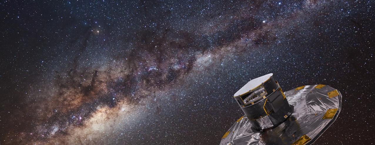Le satellite Gaia de l'ESA et la Voie Lactée. Montage photographique ESA-ATG-ESO Serge Brunier
