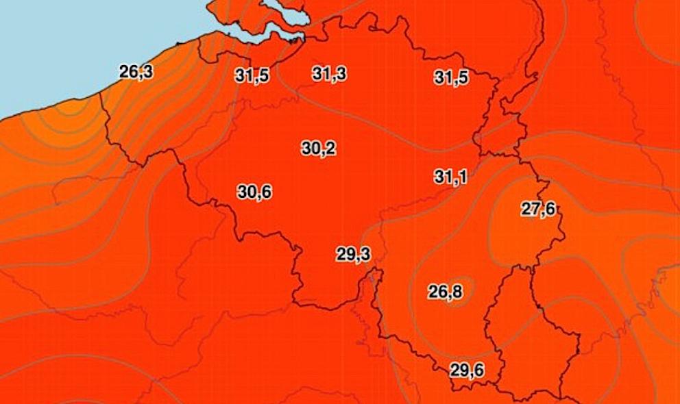Relevé des températures, Belgique, 19 juin, 17 heures. © IRM