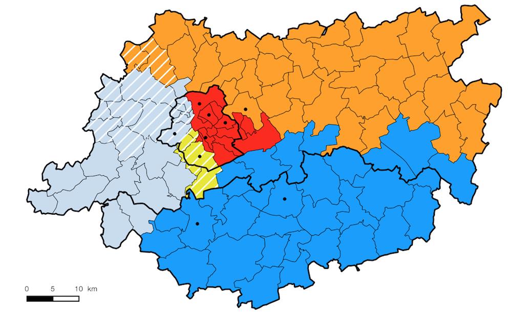 Bassins de téléphonie mobile pour des données agrégées à l'échelle des communes. (Brussels Studies 118).