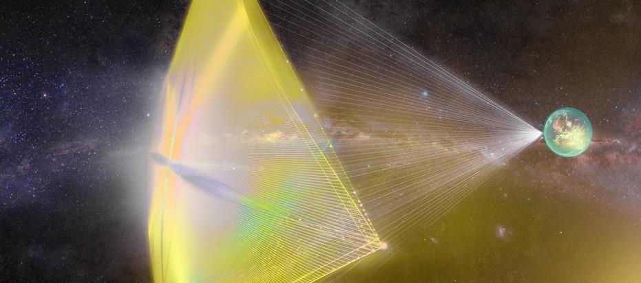 Propulsion par laser sur une voile solaire. © http://breakthroughinitiatives.org/