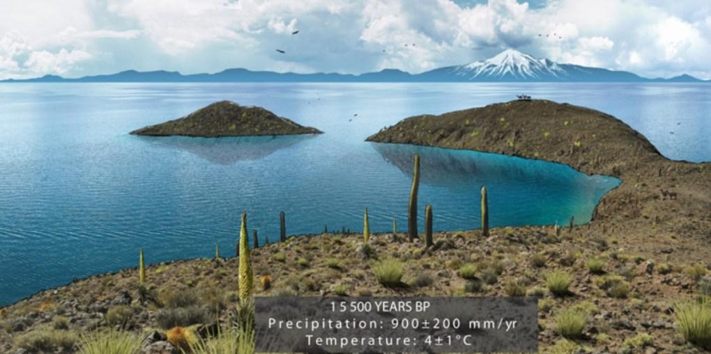 Reconstitution du lac Tauca recouvrant, il y a 15.500 ans, l'actuel Salar de Uyuni. © Edouard Mazaré