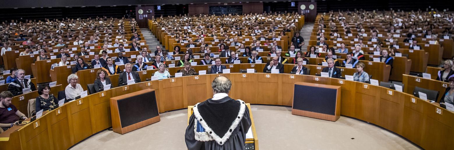 Discours de rentrée académique du recteur Yvon Englert (ULB), au parlement Européen. © ULB
