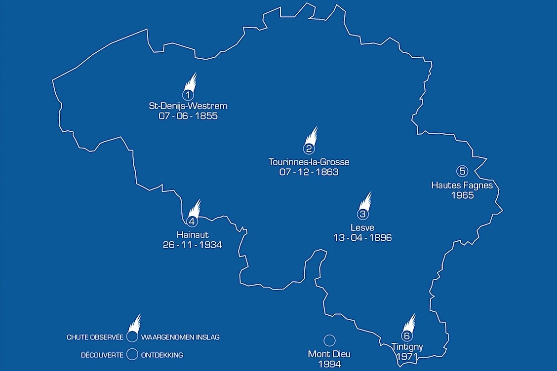 """Localisation des six météorites """"belges"""". © IRSNB"""