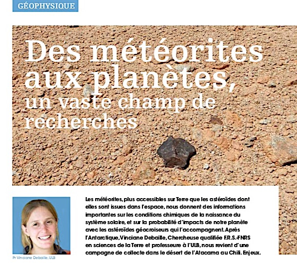 Extrait du FNRSNews 107 présentant les travaux du Dr Debaille.