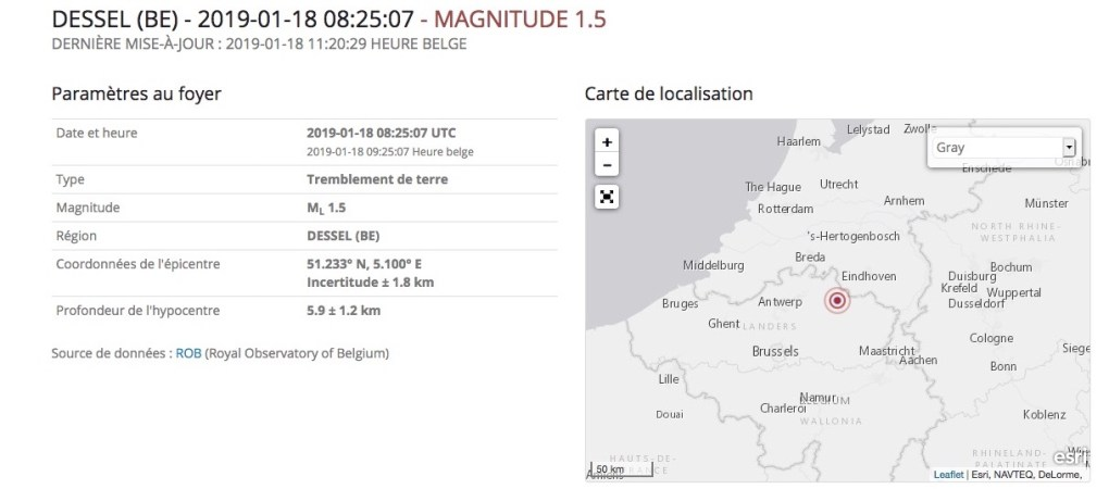 Enregistrement du tremblement de terre du 18 janvier 2018 à Mol/Dessel.