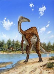 Représentation artistique de Deinocheirus © Michael Skrepnick