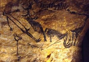 Unique représentation d'un être humain dans les fresques de Lascaux.