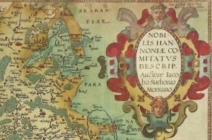 Cartouche de 1579, tiré de la carte du Hainaut publiée par Ortélius.