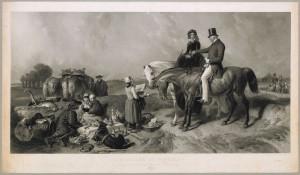 A dialogue at Waterloo. Gravure de Thomas-Lewis Atkinson, d'après le tableau original de Sir Edwin Henry Landseer ©Bibliothèque royale de Belgique