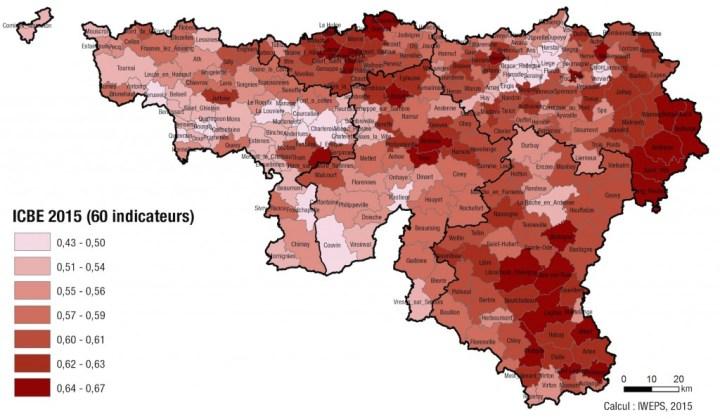 L'indice moyen de condition de bien-être est de 0,57. Sur cette carte, les communes les mieux classées sont en couleur sombre. (Cliquez pour agrandir)