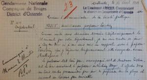 Extrait du rapport du 12 avril 1933 signé par le gendarme Arnoul, d'Ostende, et concernant Albert Einstein. Dès le lendemain, ce rapport est transmis au Ministre. (Cliquer pour agrandir)