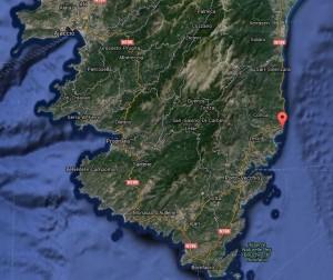 Localisation de la rivière Cavu, Corse du Sud. © Google Map (Cliquer pour agrandir)