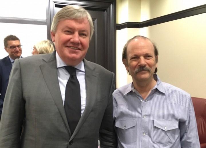 Le ministre de la recherche de la FWB, Jean-Claude Marcourt (PS) et le Pr Moshe Vardi (Baker Institute / Rice University).