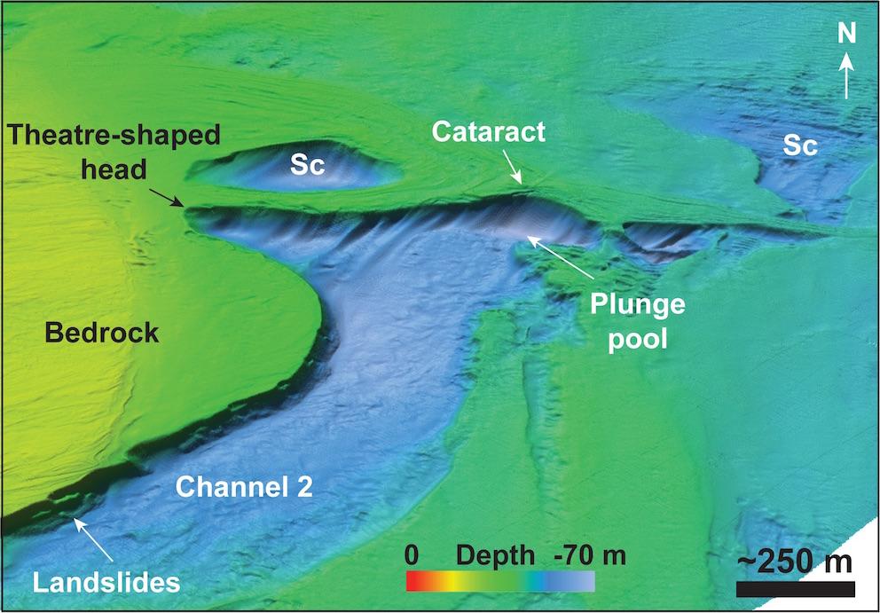Détail d'une cataracte désormais sous-marine. © Imperial College London