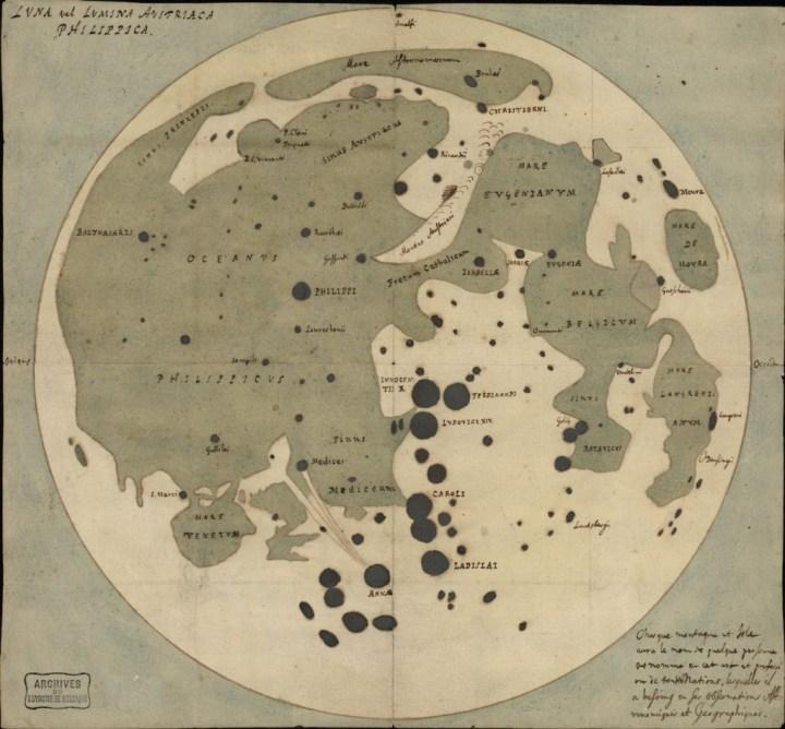 Carte de la Lune de Langrenus (Cliquer pour agrandir et découvrir la toponymie de l'époque). © Archive de l'Etat