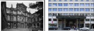 Le palais Granvelle, alors siège de l'ULB, et la Galerie Ravenstein qui lui a succédé. (Cliquer pour agrandir)