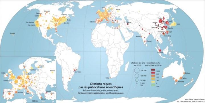 On observe une déconcentration géographique des citations avec une croissance très forte du nombre de citations reçues par les villes des pays dits « émergents » : Iran, Chine (en rouge très foncé). © Marion Maisonobe et al. à partir de données de Clarivate Analytics et d'un fond de carte Natural Earth