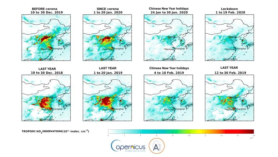 Sur les illustrations du haut, on note l'évolution du NO2 troposphérique au-dessus de la Chine avant l'épidémie du virus corona, pendant la période d'épidémie du virus corona, et lors d'une période d'une semaine après le lockdown dans la province du Hubei. Les illustrations du bas montrent les colonnes de NO2 troposphérique pour une période comparable, l'année précédente. Ces graphiques contiennent des données Copernicus Sentinel (2018-2020) modifiées, traitées par l'IASB.
