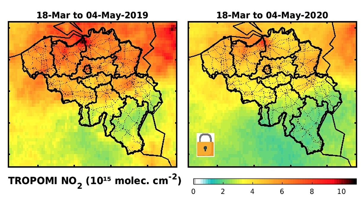Belgique: Observations par satellite du NO2 pour 2019 (à gauche) et 2020 (à droite). La moyenne des données a été calculée sur toute la durée du confinement en Belgique, du 18 mars au 4 mai 2020 (source: IASB)