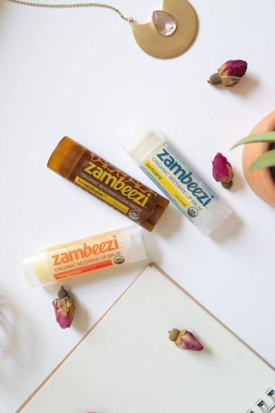 zambeezi organic beeswax lip balm for softening dry lips