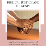 "Graphic with text ""What Christians Should Know About Biblical Justice and the Gospel"""