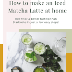 Table setting with iced matcha lattes and text - how to make an iced matcha latte at home