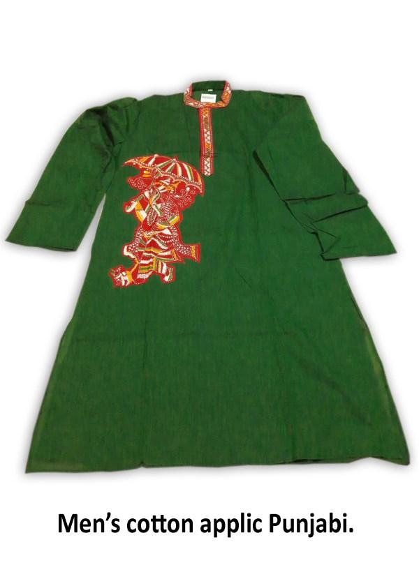 Men's Cotton Applic Punjabi (Green)