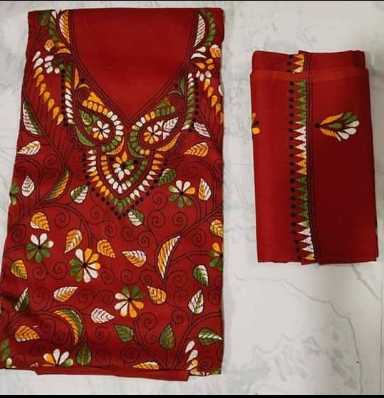 Women's Handloom Cotton Kantha Stich Churidar Piece With Duptta (5)