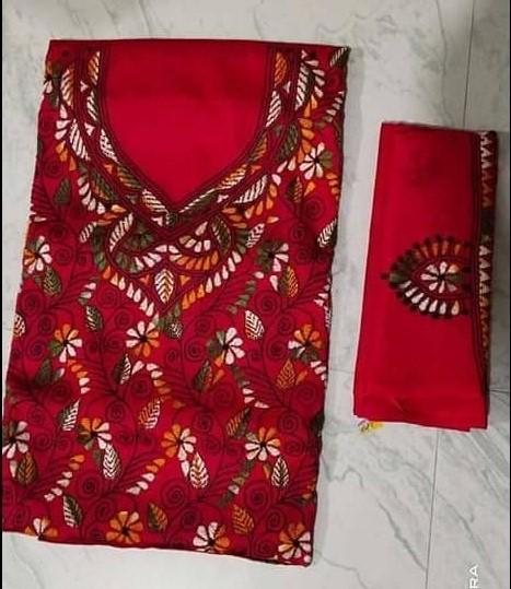 Women's Handloom Cotton Kantha Stich Churidar Piece With Duptta (11)