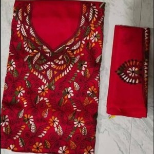 Women's Handloom Cotton Kantha Stich Churidar Piece With Duptta (11)